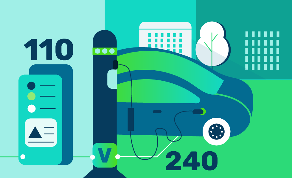 Electrical cars charging illustration
